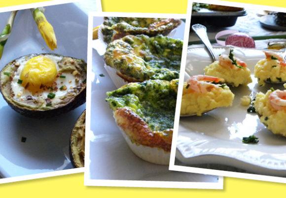 ägg i avkokado, äggmuffins och ägg i sked