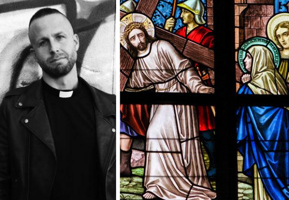 prästen are norrhava och kyrkfönster med jesusmotiv