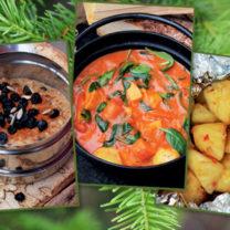 gröt, currygryta och grillad ananas