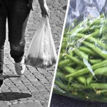 plastpåsar med mat i