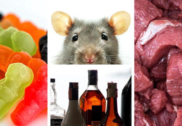 råtta godis kött och spritflaskor