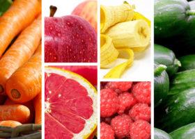 morötter, banan, äpple, hallon, grapefrukt., gurkor