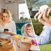 kvinna framför datorn med sitt barn och kvinna som leker med sitt barn