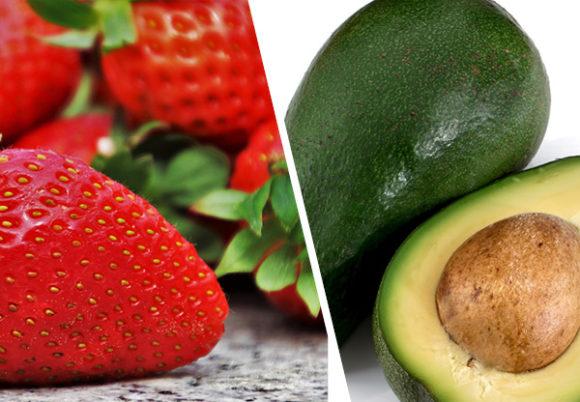 jordgubbar och avokado