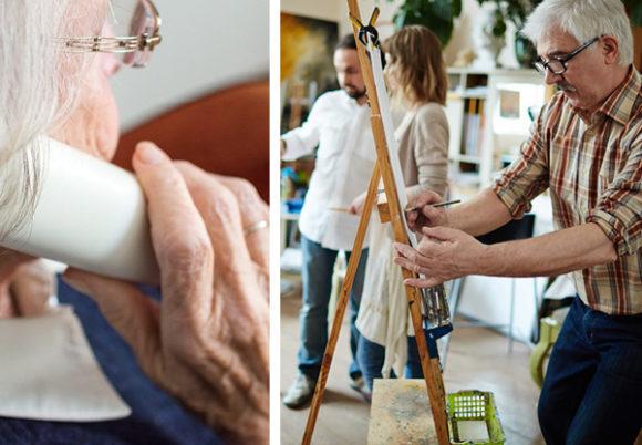 äldre kvinna prataar i telefon äldre man på målarkurs