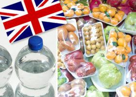 union jack, plastflaskor matförpackingar