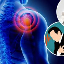 inflammaion i en axel piller och en man som håller sig för hjärtat