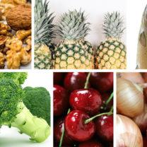 broccoli, lax, valnötter, körsbär, ananas
