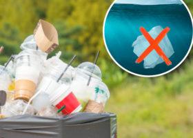 plast i papperskorg och infälld bild i havet