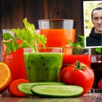 montage bestående av färgglada juicer samt infälld bild på christopher haster