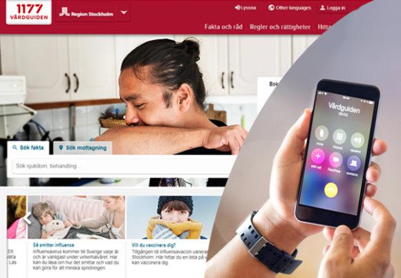 kollage hemsida 1177 och iphone
