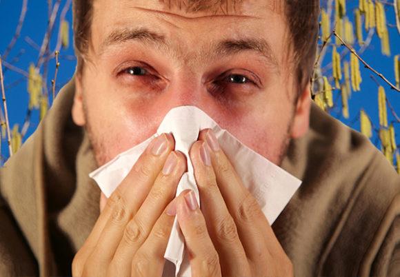 Allergisk man snyter sig