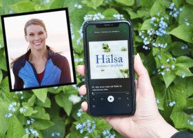 Smartphone med podden synlig - petra månström infälld