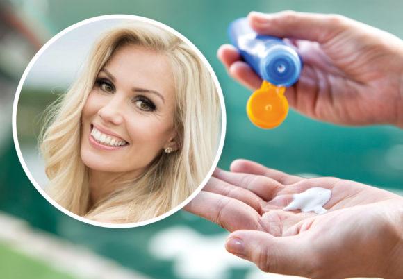 Montage: solkräm i hand och bild på Johanna Bjurström, hudvårdsexpert