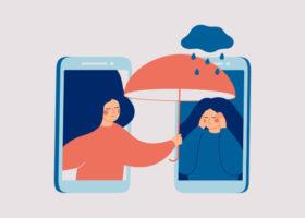 En kvinna tröstar en annan kvinna med psykiska problem över telefon.