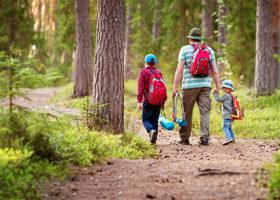 Pappa och barn i skogen