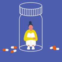 Ung kvinnlig karaktär fångad i en pillerburk. Kapslar. Medicin. Missbruk.