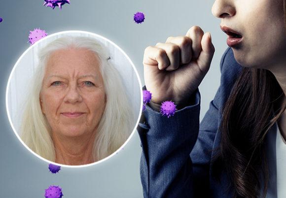 kvinna hostar