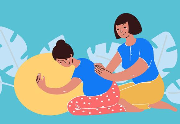 Illustration av en doula som stöd till en gravid kvinna