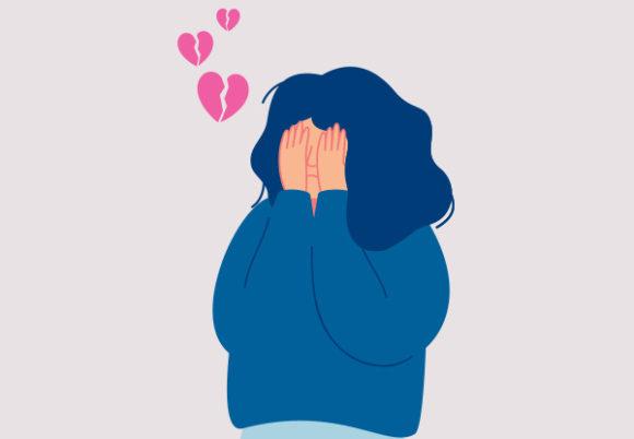 illustration av ledsen nedstämd och hjärtekrossad tjej