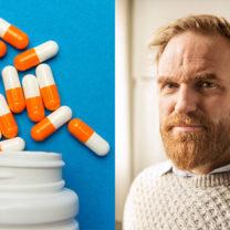 pillerburk på blå bakgrund och norska journalisten Erik Martiniussen