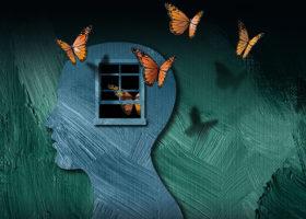 målad bild av hjärna där fjärilar flyger ut