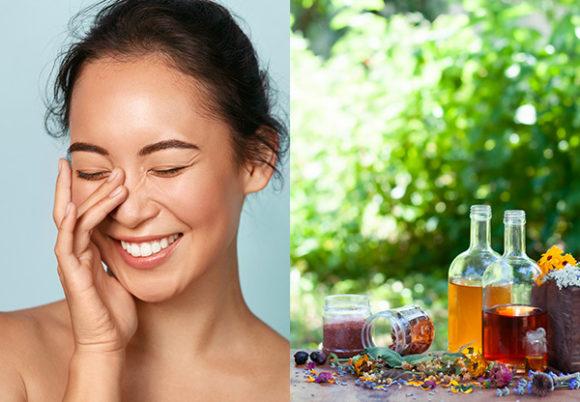 Kvinna fotad mot en turkos bakgrund som ser glad och frisk ut och ytterligare bild med olika sorters oljor i glasflaskor