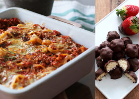 vegansk pastagratäng och vegansk choklad bounty
