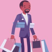 Illustrerad bild på en man som bär flera kassar och har shoppat för mycket