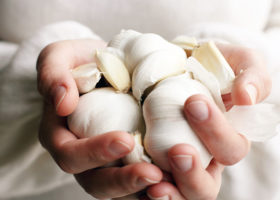 händer håller fram vitlök
