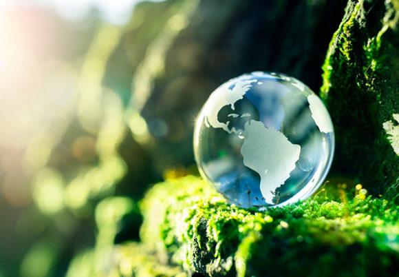 planet I genomskärning som står i grön miljö