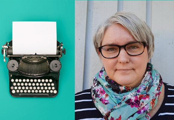 Montage av en bild på en skrivmaskin och Lotta Lundh