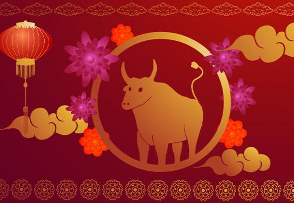 oxe och röda kinesiska lyktor