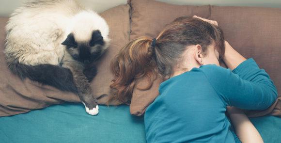 Kvinna sover bredvid vit katt på kudden