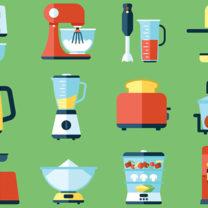 Tecknad bild på kökselektronik mot grön bakgrund