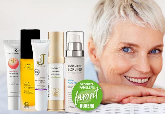 Gruppbild på 5 serum och en äldre kvinna