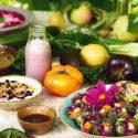 Buffébord med vegetariska rätter