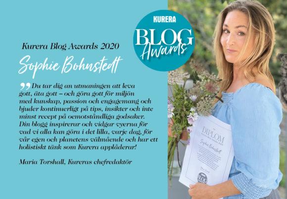 Vinnarmotivering i Kureras blog awards och bild på vinnaren Sophie Bohnstedt