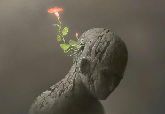 huvud med blomma som växer ut huvud