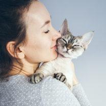 Katt gosar i famnen på kvinna