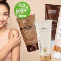Montage: kvinnlig modell och fyra brun utan sol-produkter