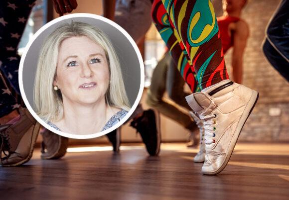 Montage: Lotta Lagerberg och närbild på dansande fötter
