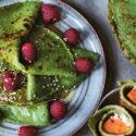 Gröna pannkakor med hallon