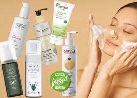 Collage: kvinna som tvättar ansiktet och 6 rengöringsprodukter